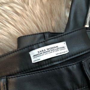 Zara Pants - Zara Women's Black Faux Leather Biker Pants